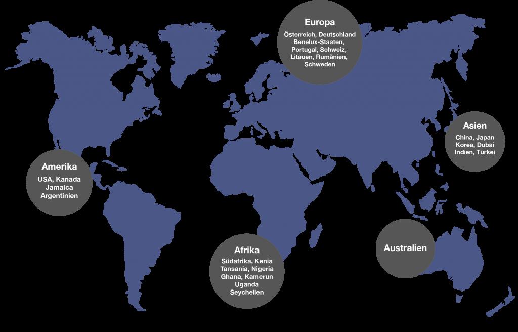 Weltkarte zeigt Projekte in Amerika, Europa, Afrika, Australien und Asien