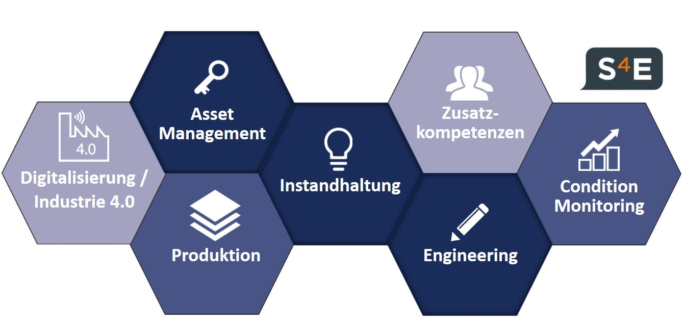 S4E, dpMCP_S4E_Überblick_Grafik, Module, Waben, System for Excellence, S4E, dankl, MCP, Instandhaltung, Asset Management, Engineering, Produktion, Condition MOnitoring, Produktion, Digitalisierung, Industrie 4.0, Zusatzkompetenzen, Training, Beratung,